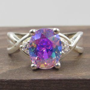 Size 8.25 Sterling Rainbow Cubic Zirconia Ring
